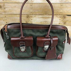 Dooney & Burke Green and Brown Shoulder Bag